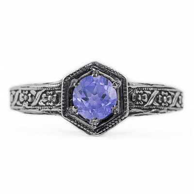 Floral Ribbon Design Vintage Style Tanzanite Ring in 14K White Gold