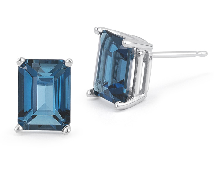 3.40 Carat Emerald-Cut London Blue Topaz Stud Earrings