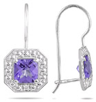 1.33 Carat Cushion-Cut Amethyst and Diamond Earrings