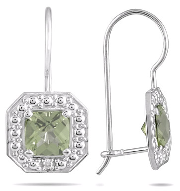 1.38 Carat Cushion-Cut Green Amethyst and Diamond Earrings