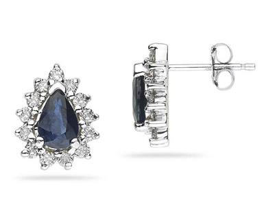 Pear-Shaped Sapphire and Diamond Flower Earrings, 14K White Gold