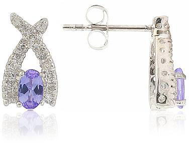 Oval Tanzanite and Diamond Earrings, 14K White Gold