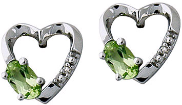 Peridot Diamond Heart Earrings, 14K White Gold