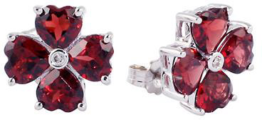 clover heart-shaped garnet earrings