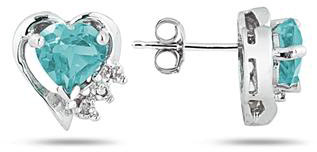 Aquamarine and Diamond Heart Earrings, 10K White Gold