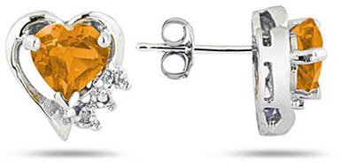 Citrine and Diamond Heart Earrings, 10K White Gold