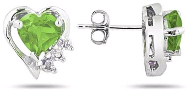 Peridot and Diamond Heart Earrings, 10K White Gold