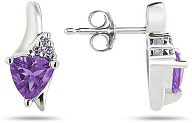 Trillion-Cut Amethyst and Diamond Earrings, 14K White Gold