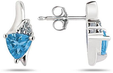Trillion-Cut Blue Topaz and Diamond Earrings, 14K White Gold