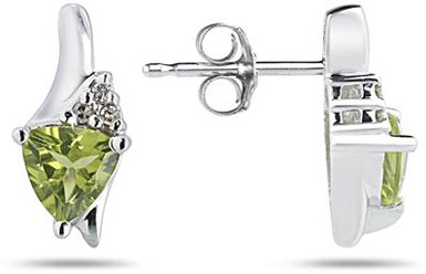 Trillion-Cut Peridot and Diamond Earrings, 14K White Gold