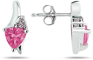 Trillion-Cut Pink Topaz and Diamond Earrings, 14K White Gold