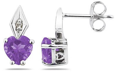 Heart-Shaped Amethyst and Diamond Earrings