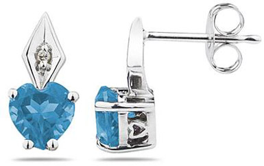 Heart-Shaped Blue Topaz and Diamond Earrings