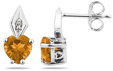 Heart-Shaped Citrine and Diamond Earrings