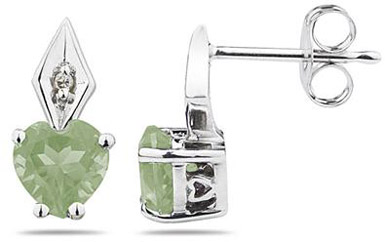 Heart Shape Green Amethyst and Diamond Earrings, 10K White Gold