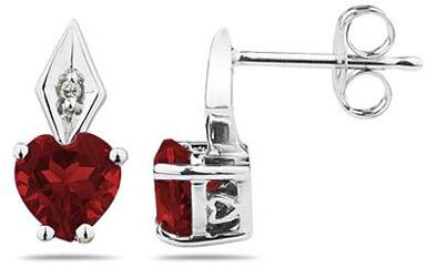 Heart-Shaped Garnet and Diamond Earrings