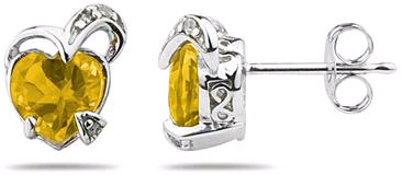 1.50 Carat Heart-Shaped Citrine and Diamond Earrings, 14K White Gold