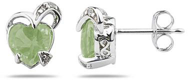 1.50 Carat Heart-Shaped Green Amethyst and Diamond Earrings, 14K White Gold