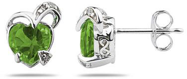 1.50 Carat Heart-Shaped Peridot and Diamond Earrings, 14K White Gold