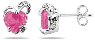 1.50 Carat Heart-Shaped Pink Topaz and Diamond Earrings, 14K White Gold