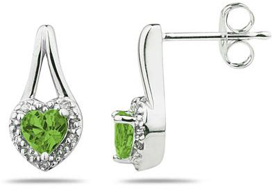 Peridot and Diamonds Heart Earrings