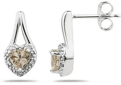 Smokey Quartz and Diamonds Heart Earrings