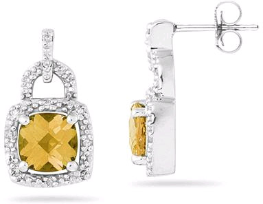 2.50 Carat Cushion-Cut Citrine and Diamond Earrings