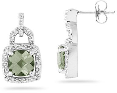 2.50 Carat Cushion-Cut Green Amethyst and Diamond Earrings