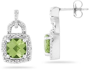 2.50 Carat Cushion-Cut Peridot and Diamond Earrings