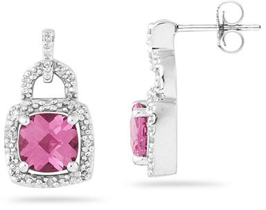 2.50 Carat Cushion-Cut Pink Topaz and Diamond Earrings