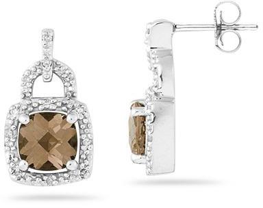 2.50 Carat Cushion-Cut Smokey Quartz and Diamond Earrings