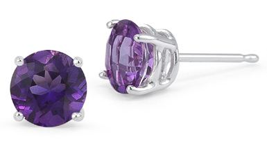 Amethyst Stud Earrings, Platinum Setting