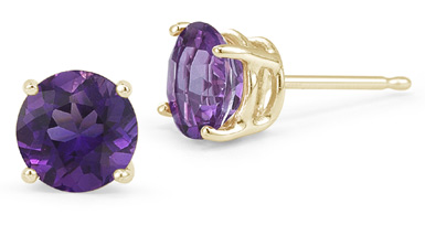 Amethyst Stud Earrings, 14K Yellow Gold