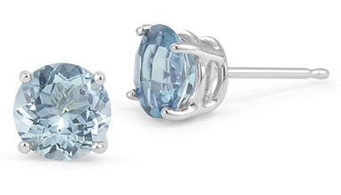 Aquamarine Stud Earrings, 14K White Gold
