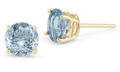 7mm Push Back Aquamarine Stud Earrings, 14K Yellow Gold