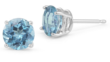 6mm Push Back Blue Topaz Stud Earrings, 14K White Gold