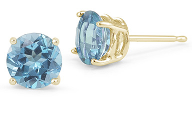 Blue Topaz Stud Earrings, 14K Yellow Gold