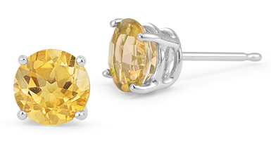 Citrine Stud Earrings in Platinum