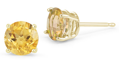 Citrine Stud Earrings, 14K Yellow Gold