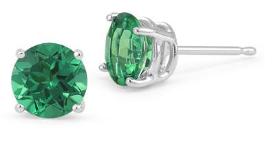 Emerald Stud Earrings, 14K White Gold