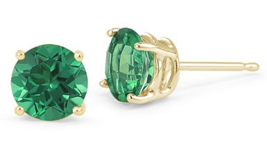 Emerald Stud Earrings, 14K Yellow Gold