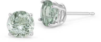 Green Amethyst Stud Earrings, 14K White Gold