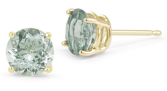 Green Amethyst Stud Earrings, 14K Yellow Gold