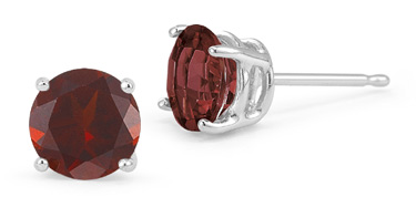 Garnet Stud Earrings, 14K White Gold
