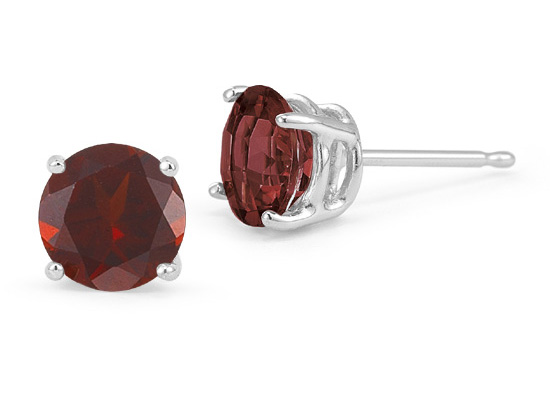 6mm Garnet Stud Earrings with Screw Back Post