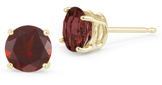 Garnet Stud Earrings, 14K Yellow Gold
