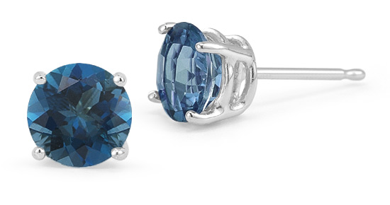 London Blue Topaz Stud Earrings, 14K White Gold