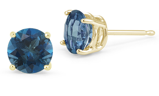 London Blue Topaz Stud Earrings, 14K Yellow Gold