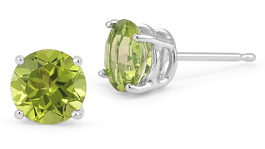 7mm Push Back Peridot Stud Earrings, 14K White Gold
