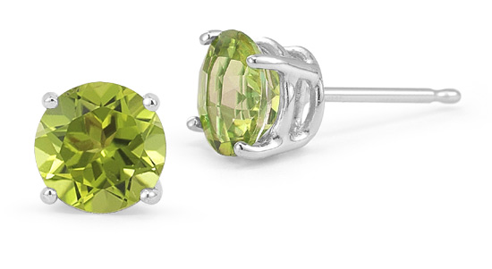 Peridot Stud Earrings, 14K White Gold